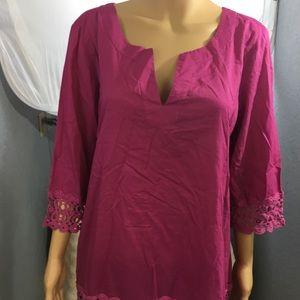Ann Taylor Blouse 3/4 sleeve with crochet 1x